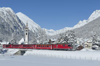 A Rhaetian Railway train runs near Bever in the Engadin region. (swiss-image.ch/MaxGalli)